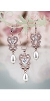 PARASKEVE Rose Gold Wedding Pearl Jewelry Teardrop Earrings Necklace