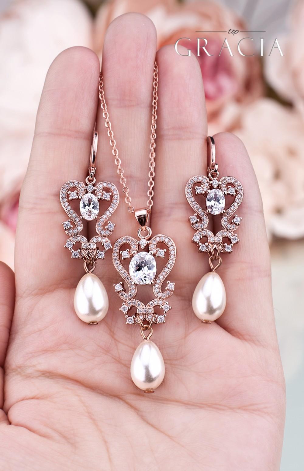 PARASKEVE Rose Gold Wedding Pearl Jewelry Teardrop Earrings Necklace ...