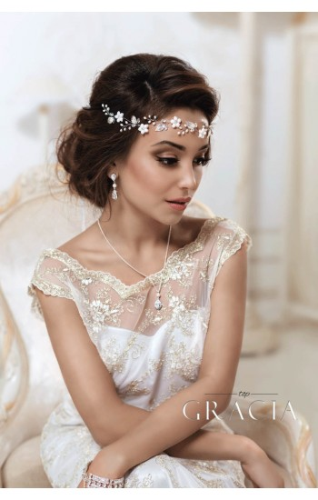 PENELOPE White Leaf Pearl Bridal Flower Tiara Crown
