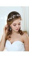 PENELOPE White Leaf Pearl Bridal Flower Tiara Crown