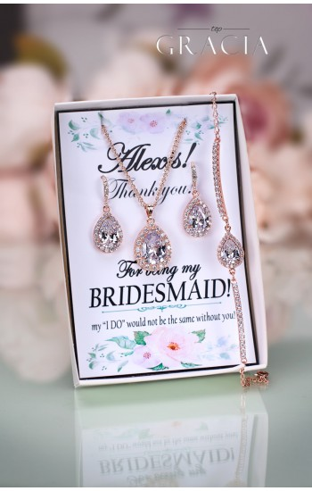 PHAIDRA Crystal Rose Gold Bridal Jewelry Set Wedding Bridesmaid Gift