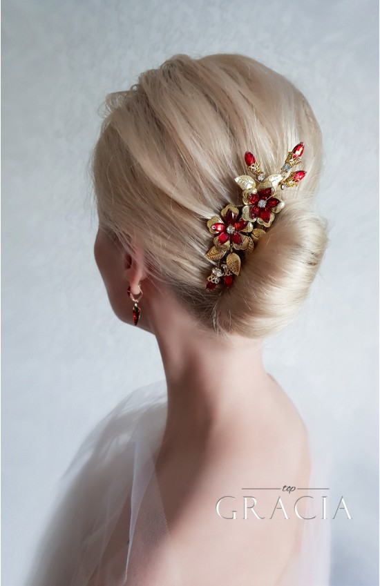 RED wedding hair comb