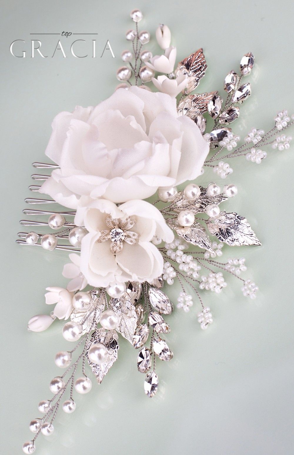 f55130f85483 ROSE Floral Hair Accessories White Bridal Hair Flower Comb With Rhinestones  by TopGracia