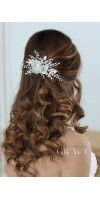 ROSE Floral Hair Accessories White Bridal Hair Flower Comb With Rhinestones