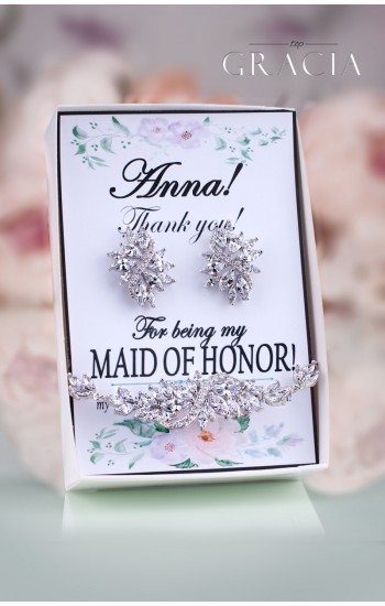 ROXANE Personalized Bridesmaids Thank You Gift For Maid Of Honor Jewelry Set