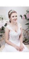 SARA Rose Gold Leaf Grecian Wedding Tiara Crown With Flowers