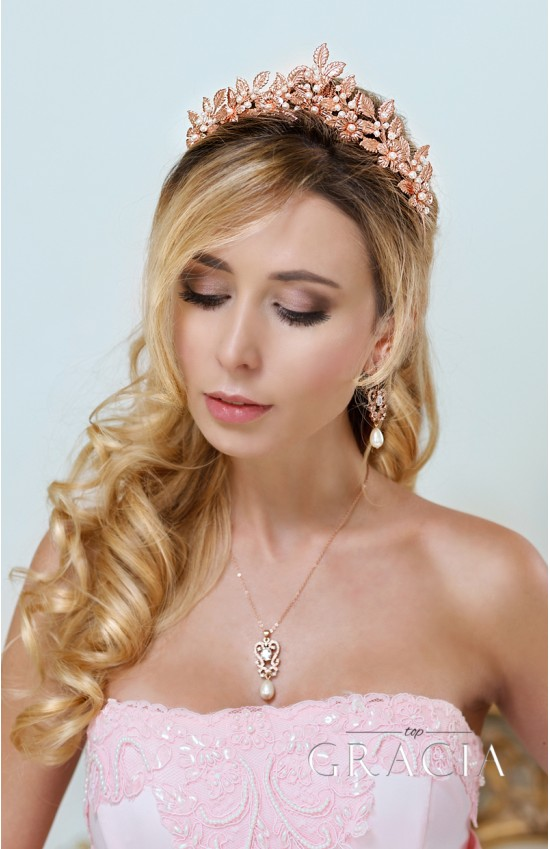 SARA Rose Gold Leaf Grecian Wedding Tiara Crown With Flowers