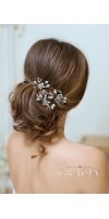 SELENE Silver Rose Pearl Bridal Hairpins