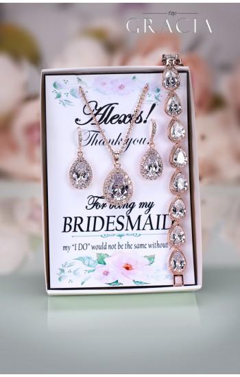 SOFIA Rose Gold Crystal Bridal Earrings Bracelet Necklace Jewelery Set