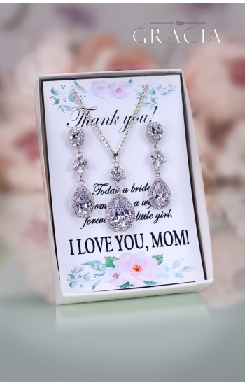 TANIS Mother of The Bride Groom Crystal Jewelry Set Gift