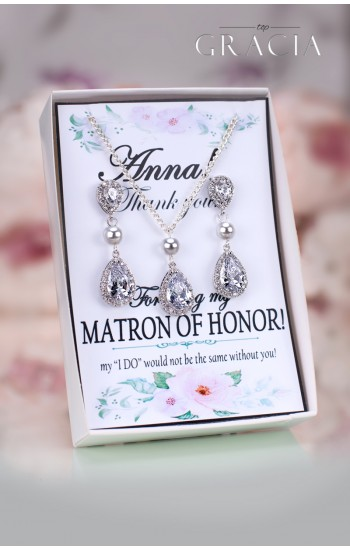 THAIS Matron of Honor Maid of Honor Crystal Jewelry Set Gift