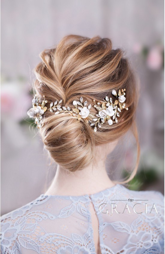 TINA Flower Wedding Headpiece - Gold Silver or Rose Gold Bridal Accessories