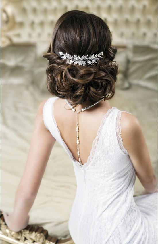 VERA Grecian Silver Leaf Bridal Hair Comb - Laurel Goddess headpiece