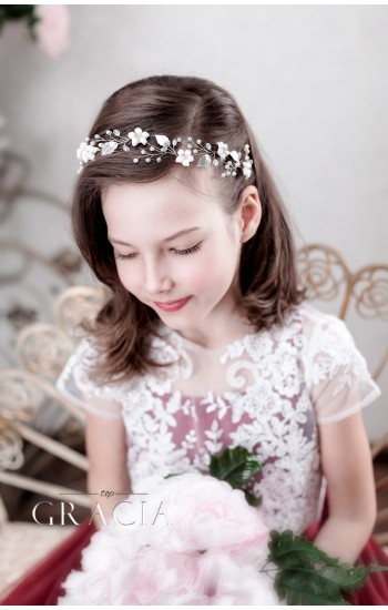 Viktoria First Communion White Flower Crown Headpiece for Girls
