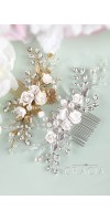 XANTHE White or Ivory Rose Flower Gold Leaf Bridal Hair Comb