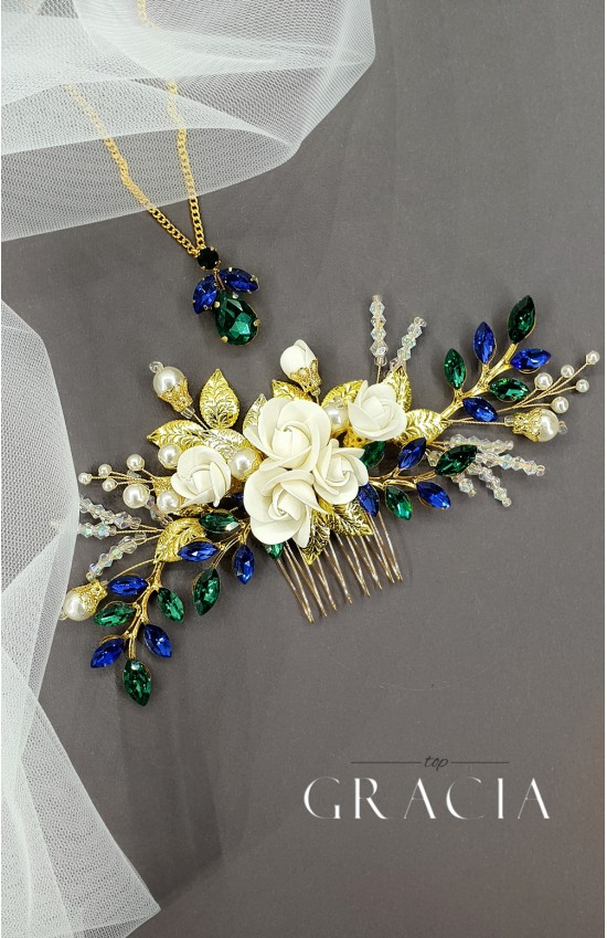 XANTHE Green and Blue Crystal Hair Comb with Roses