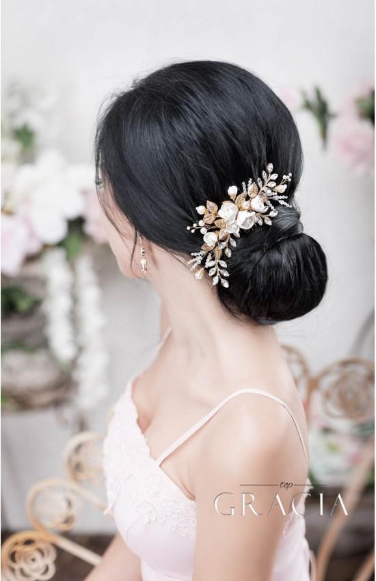XANTHE White or Ivory Rose Flower Gold Leaf Bridal Hair Comb