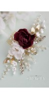 XENIA - Blush Pink Burgundy Rose Flower Comb for Exquisite Brides