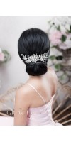 ZENAIS silver flower wedding hair piece in vintage look