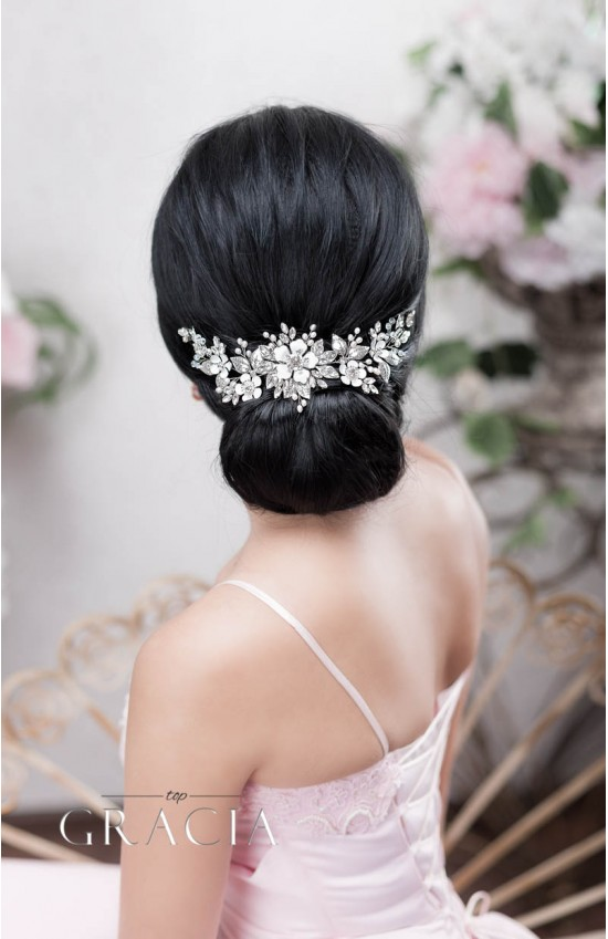 ZENAIS silver flower wedding hair piece in vintage look