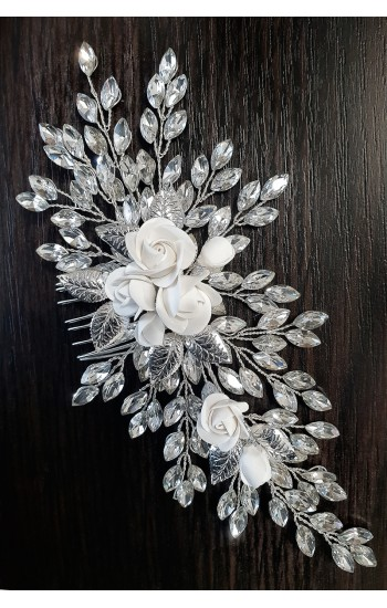 ZENOBIA Bridal and Wedding Hair Comb with Rose Flowers and Crystals