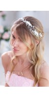 AGLAIA White or Ivory Bridal Headpiece With gentle handmade Flowers