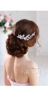 AMALTHEIA Flower Crystal Bridal hair comb - Rhinestone Wedding Headpiece