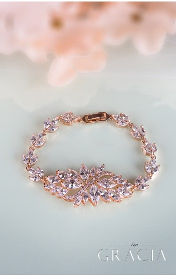ATHENA Rose Gold Crystal Bridal Bracelet