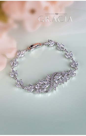BARBARA Silver Wedding Braсelet with cubic zirconium