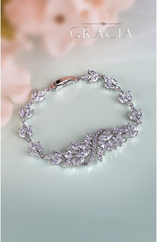 BARBARA Silver Wedding Braсelet with cubic zirconium