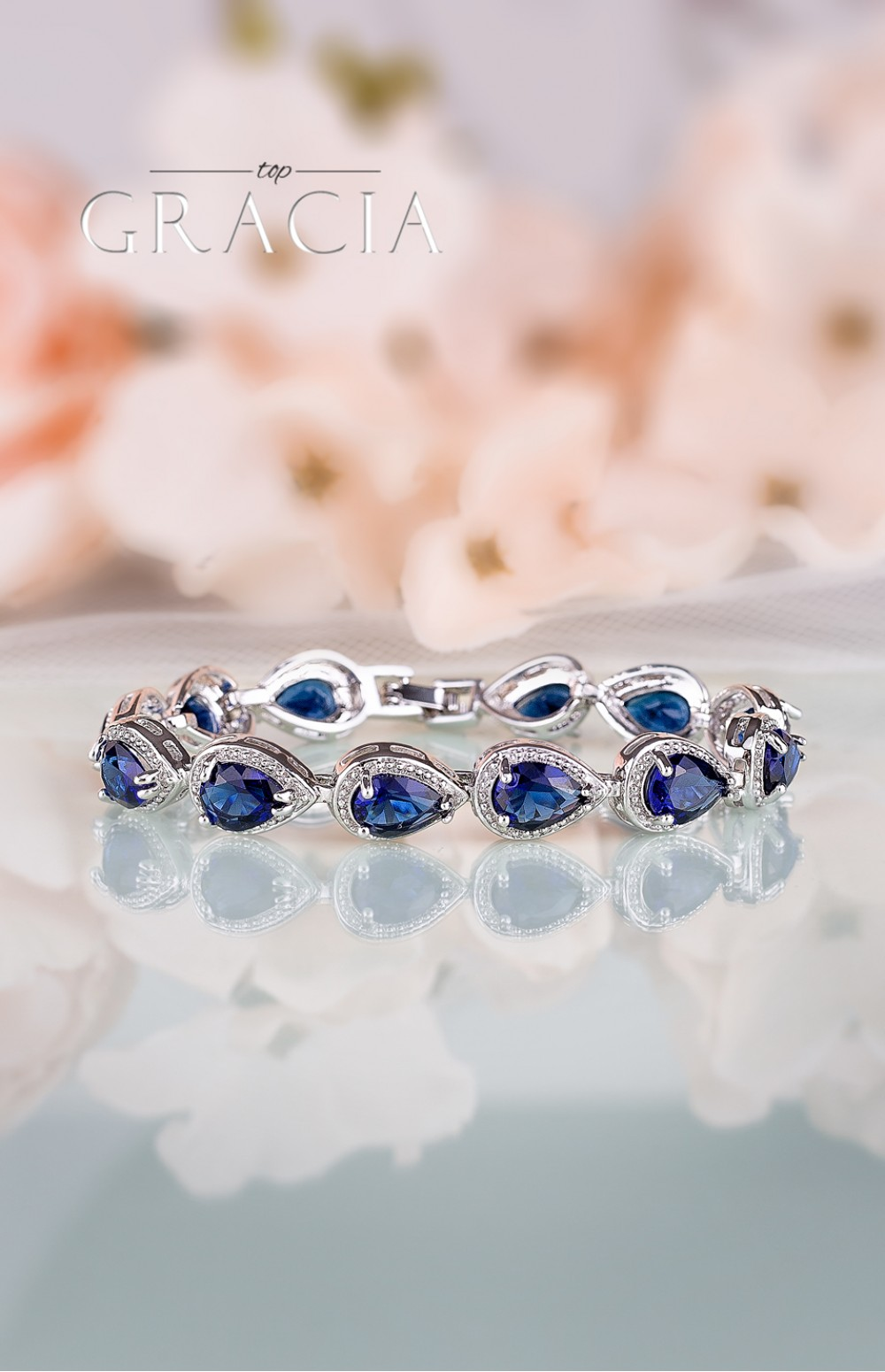 HARMONIA Sapphire Blue Silver Bridal Bracelet Something Blue Wedding