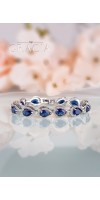 HARMONIA Sapphire Blue Silver Bridal Bracelet Something Blue Wedding Jewelry