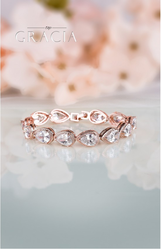 CALISTO Cubic Zirconium Rose Gold Wedding Bracelet