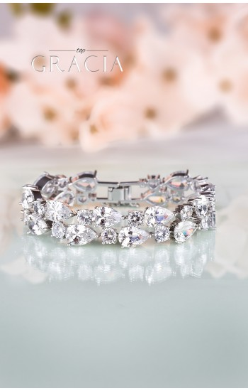 CHLORIS Silver Crystal Bridal Wedding Bracelet
