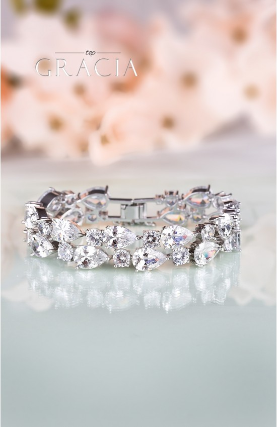 CHLORIS Silver Crystal Bridal Wedding Bracelet