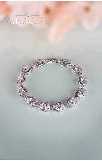 ELEKTRA Drop Cubic Zirconium Silver Bridal Bracelet