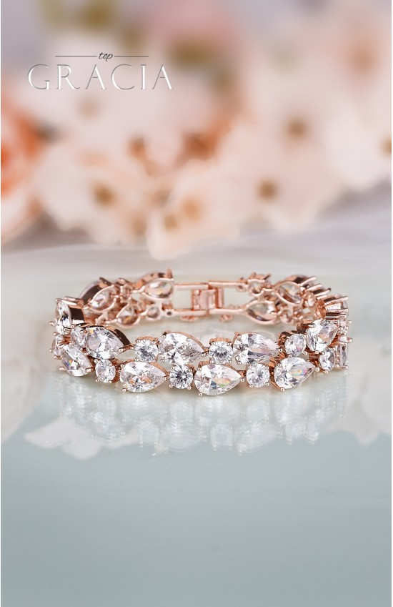 EFTHALIA Rose gold crystal bridal bracelet with cubic zirconium