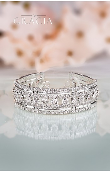 EUGENEIA Silver Crystal Wedding Bridal Bracelet