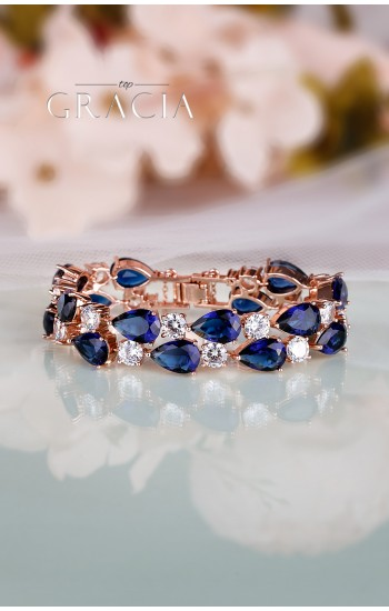 IANTHINA Rose Gold Cuff Sapphir Blue Bridal Bracelet With Cubic Zirconium