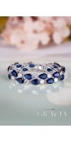 KLEIO Something Blue Bridal Bracelet with Cubic Zirconia Crystals