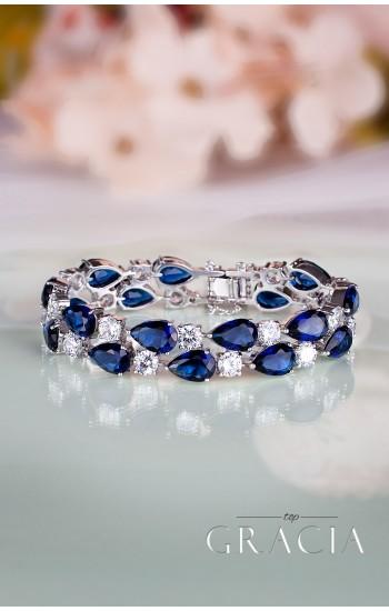 KLEIO Something Blue Bridal Bracelet with Cubic Zirconia Crystals