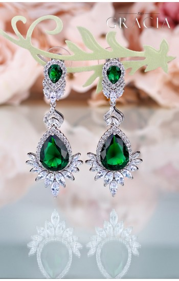 APHRODITE Cubic Circonia Emerald Green Bridal Drop Earrings