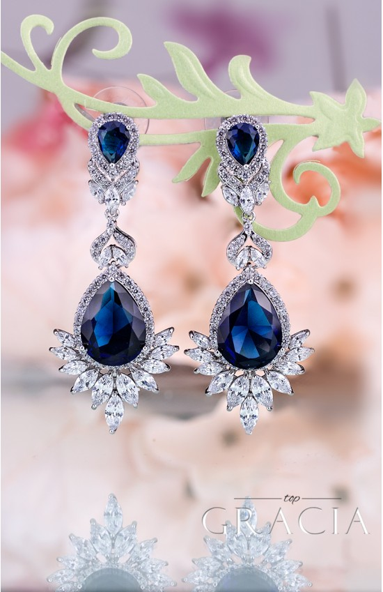 KLOTHO Cubic Zirconia Navy Bridal Sapphire Blue Teardrop Earrings