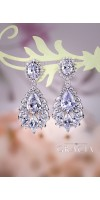 MELAINA Chandelier Wedding Dangle Drop CZ Vintage Style Crystal Bridal Earrings