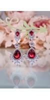 CHRYSEIS Ruby Red Teardrop Cubic Zirconia Bridal Earrings Wedding Jewelry