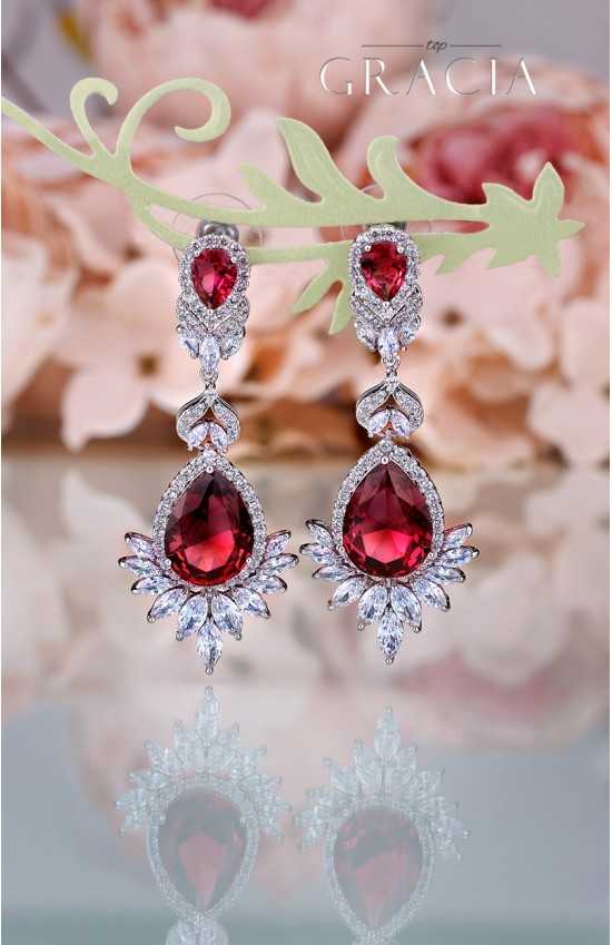 CHRYSEIS Ruby Red Teardrop Cubic Zirconia Bridal Earrings Wedding Jewelry