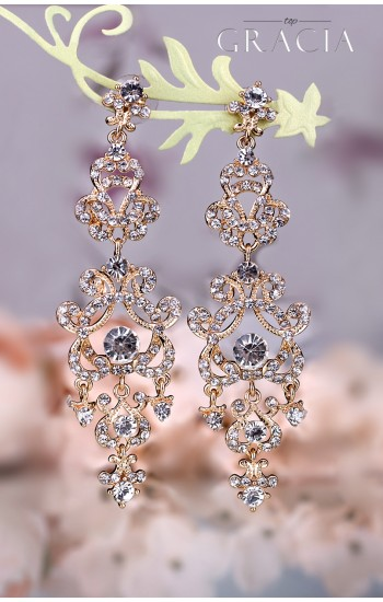 LETO Gold Wedding Dangle Crystal Bridal Earrings