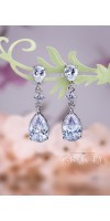 KLYTIE Crystal Pear Bridal Silver Earrings Vintage Style