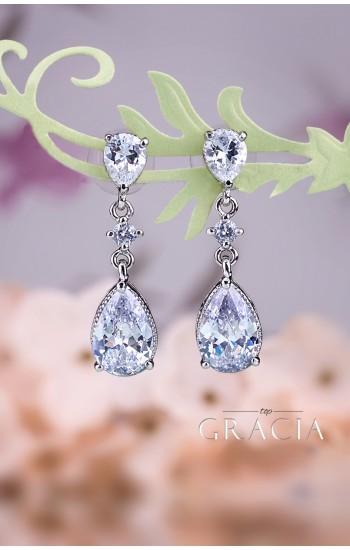 KLYTIE Crystal Pear Bridal Silver Earrings Vintage Style