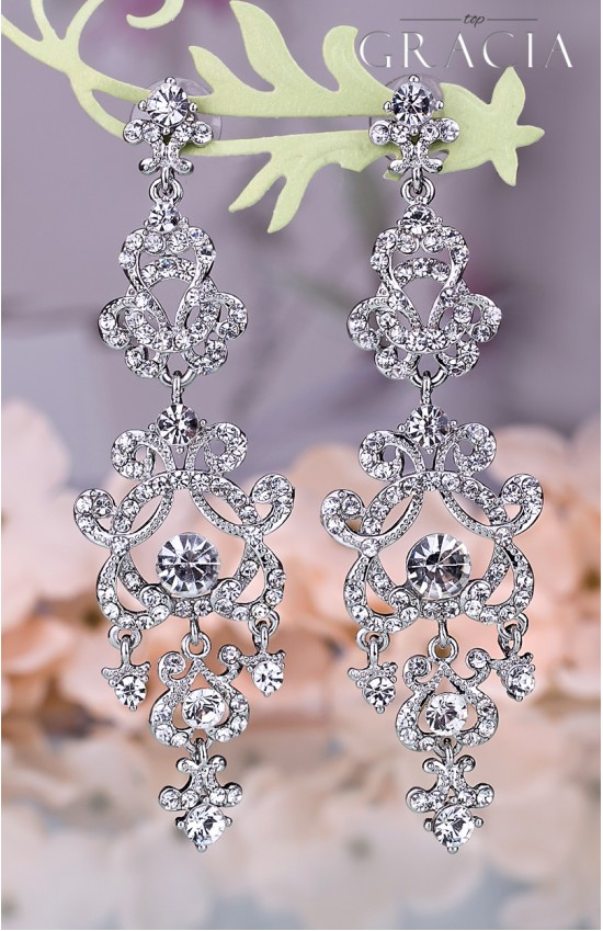 MEDOUSA Silver Wedding Dangle Bridal Earrings With Crystals